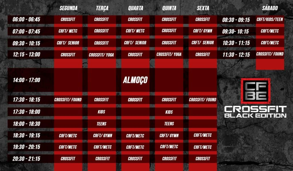 CrossFit Black Edition Timetable